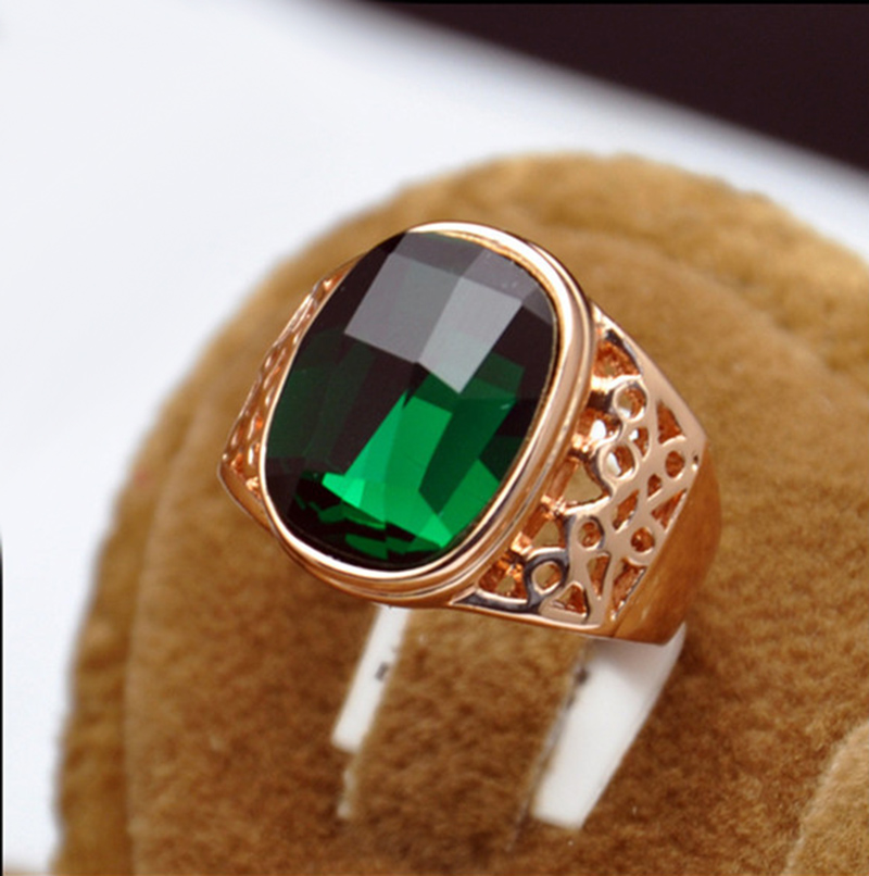 Ajojewel Geometric Green Crystal Cocktail Ring With Green Stone Women Rings Golden Finger Jewelry Wholesale in Rings from Jewelry Accessories