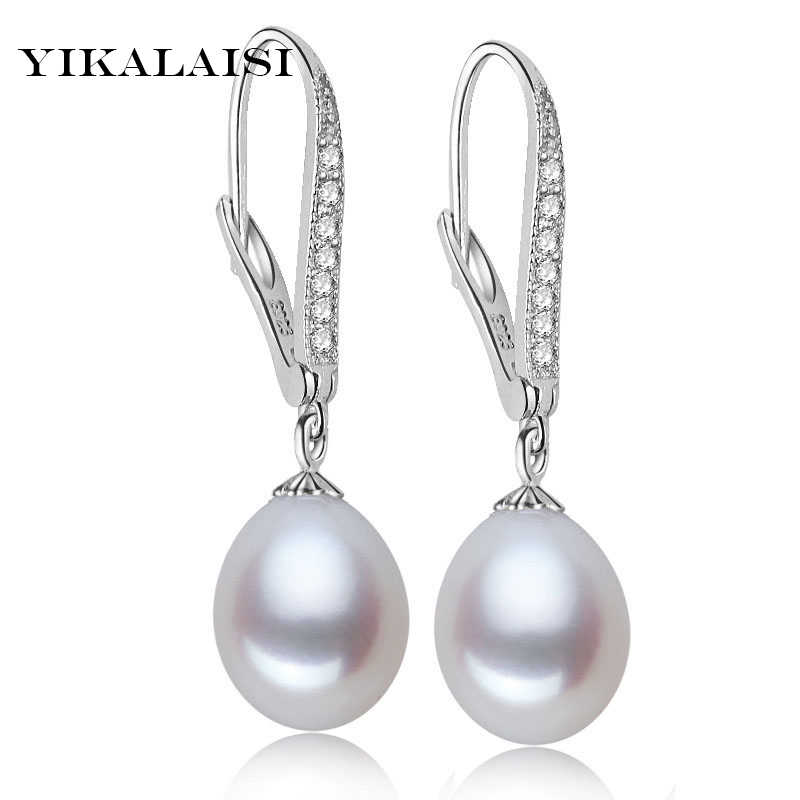 YIKALAISI 925 sterling silver natural freshwater 8-9mm pearl jewelry long earrings  zircon jewelry  for women