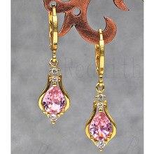 Роскошные серьги-кольца для женщин с желтым золотом, каплевидное кольцо с Каплевидным кубическим цирконием, блестящее ювелирное изделие для подарка