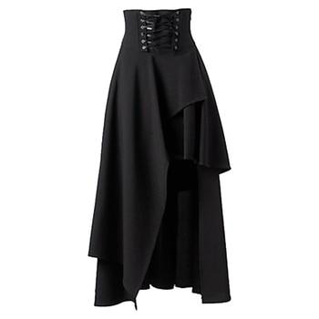 cdf7ff75062055 Correa Lolita de alta calidad Lange Rok Vrouwen modo Zwart gótico Rokken  Vrouwelijke Hoge gótico Steampunk