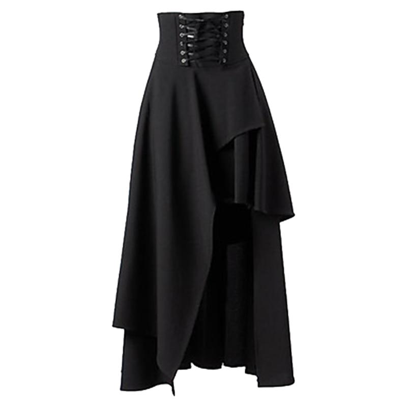 High Quality Lange Rok Vrouwen Mode Lolita Strap Zwart Gothic Rokken Vrouwelijke Hoge  Gothic Steampunk Party Rokken