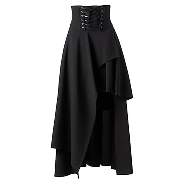 Wysokiej Jakości Lange Rok Vrouwen Tryb Lolita Pasek Zwart Gothic Rokken Vrouwelijke Hoge Gothic Steampunk Party Rokken