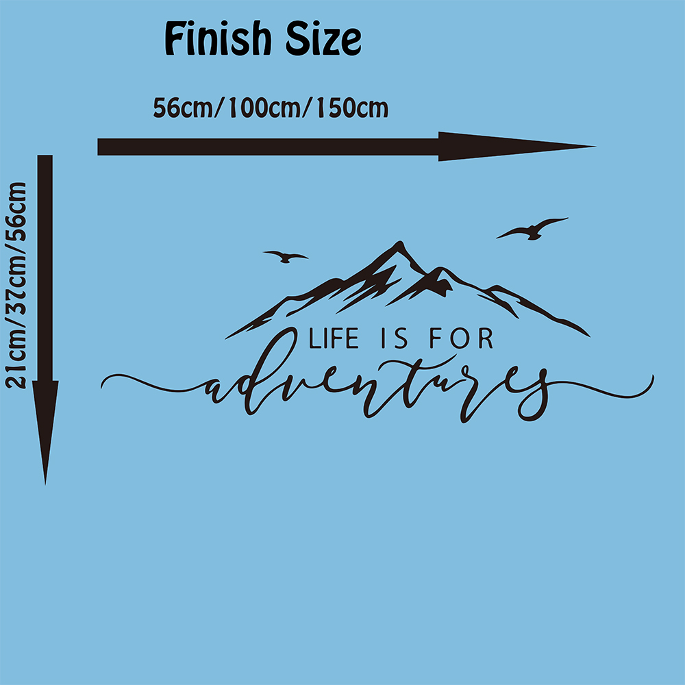 Life is for Adventures Mountain Quote Wall Sticker Bedroom Living Room Adventure Explore Travel Motivational Quote Wall Decal  (1)