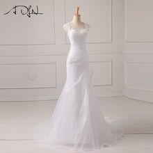 ADLN In Stock Wedding Dress 2019 Applique Beading Bodice Organza White/Ivory Vestido De Noiva Wedding Princess Bride Dresses