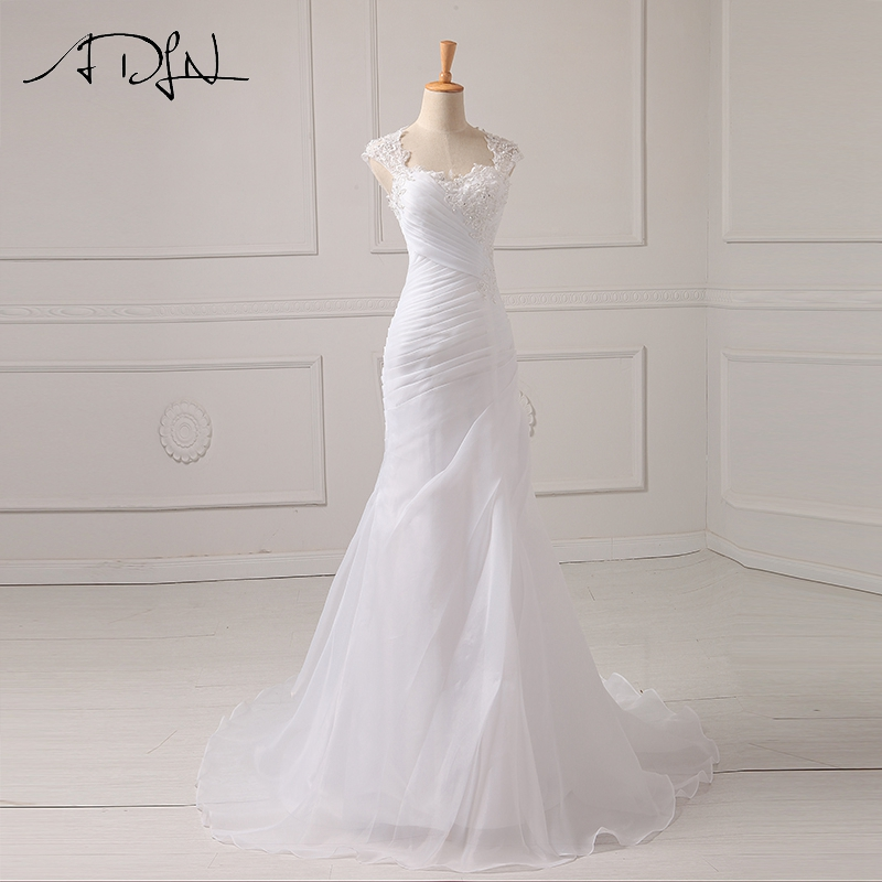 ADLN Mermaid Wedding Dress Applique Beading Sequins Pleats Organza White/Ivory Vestido De Noiva Wedding Princess Bride Dresses