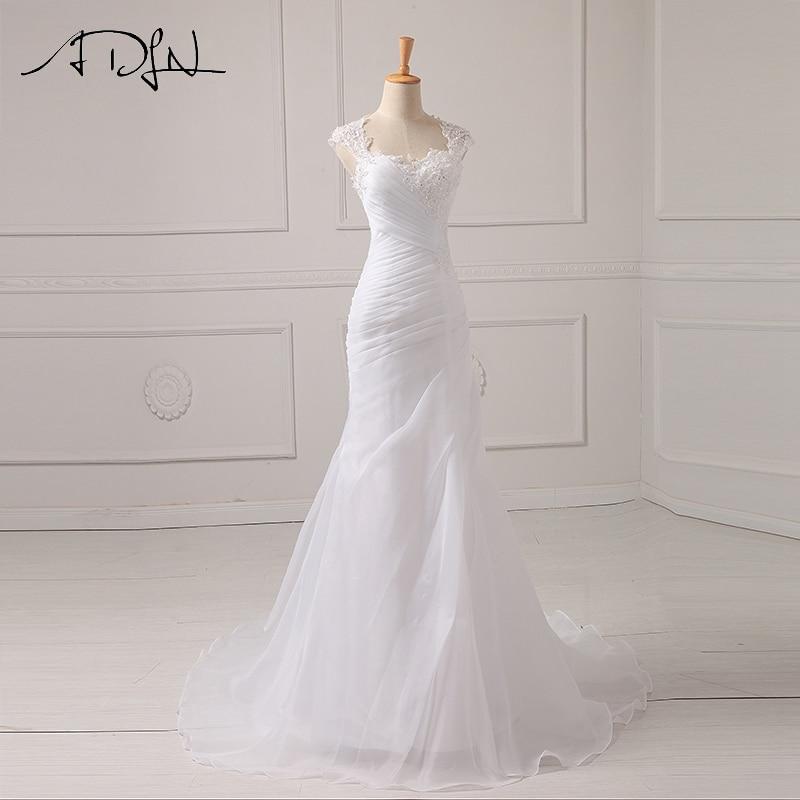 ADLN Mermaid Wedding Dress Applique Beading Sequins Pleats Organza White/Ivory Vestido De Noiva Wedding Princess Bride Dresses