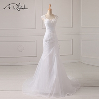 New Arrival 2015 Appliques Beading Bodice Chiffon Wedding Dresses Princess Bride Dresses With Long Train
