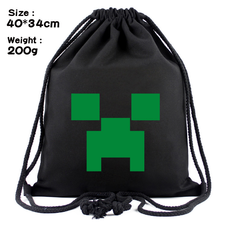 My JJ world strange green plaid canvas contracted students draw string beam pocket backpack bag