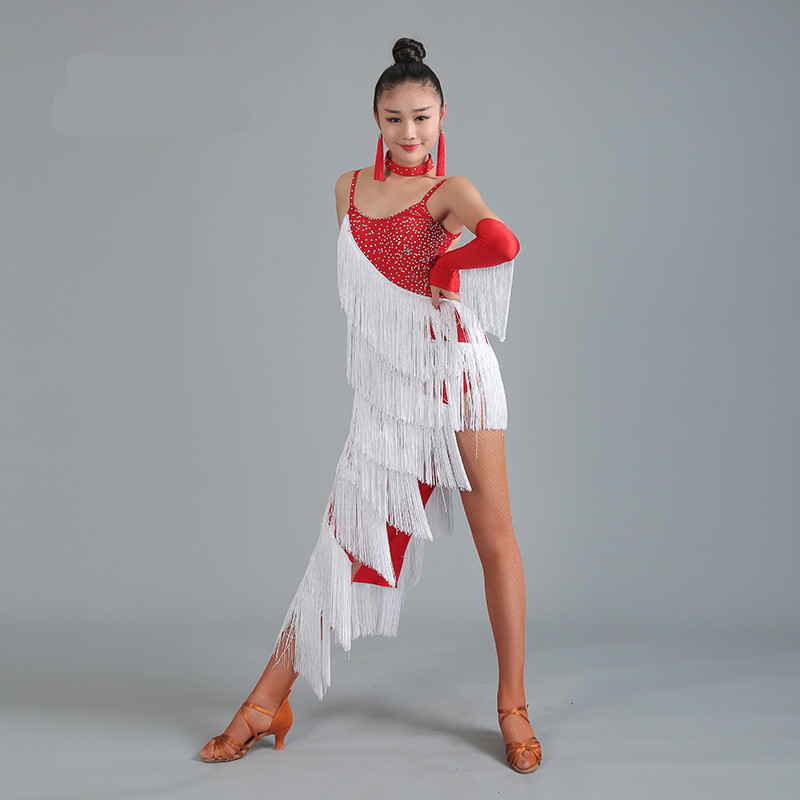 Latin Dress Competition Red Fringe Latin Dance Dress for woman Sexy jupe danse latine