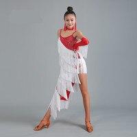 Latin Dress Competition Red Fringe Latin Dance Dress For Woman Sexy Jupe Danse Latine