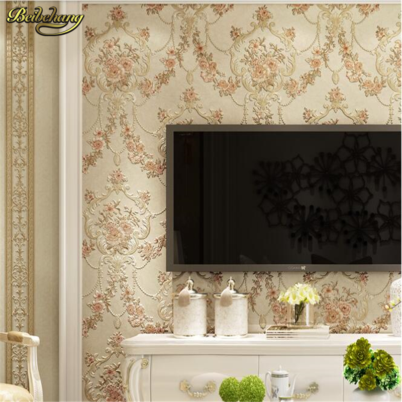 beibehang European - style garden vertical stripes AB version non - woven wallpaper living room bedroom background wall paper beibehang wallpaper vertical stripes 3d children s room boy bedroom mediterranean style living room wallpaper