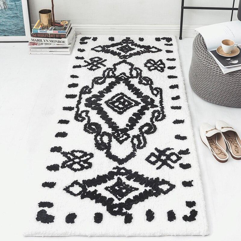 Kilim tapis de salon maroc massif géométrique blanc noir tapis indien bohême géométrie moderne tapis design style nordique