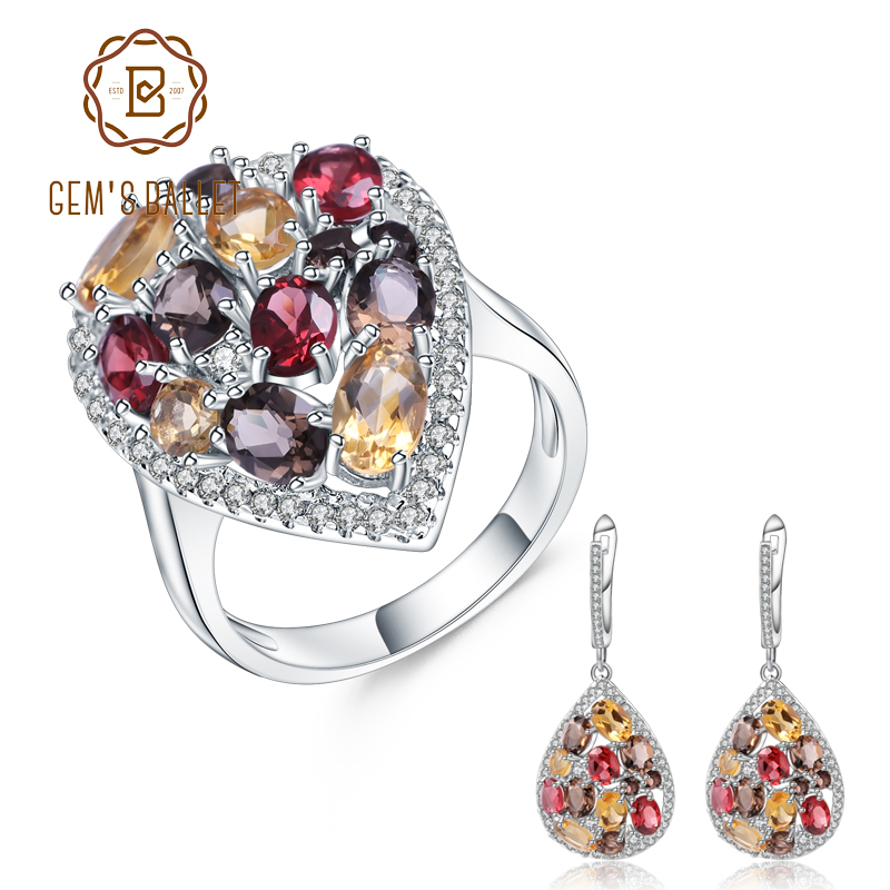 GEM S BALLET Luxury 925 Sterling Silver Jewelry Set For Women Natural Smoky Quartz Citrine Drop