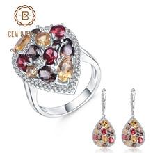 GEMS BALLET Luxury 925 Sterling Silver Jewelry Set For Women Natural Smoky Quartz Citrine Drop Earrings Ring Set Fine Jewelry