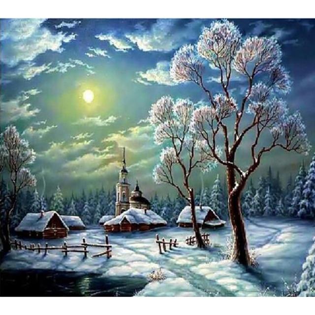 Diy пейзаж алмаз живопись Круглый дрель вышивка алмаз горный хрусталь 5d вышивки крестом Ремесла Зима снег рукоделие Z003