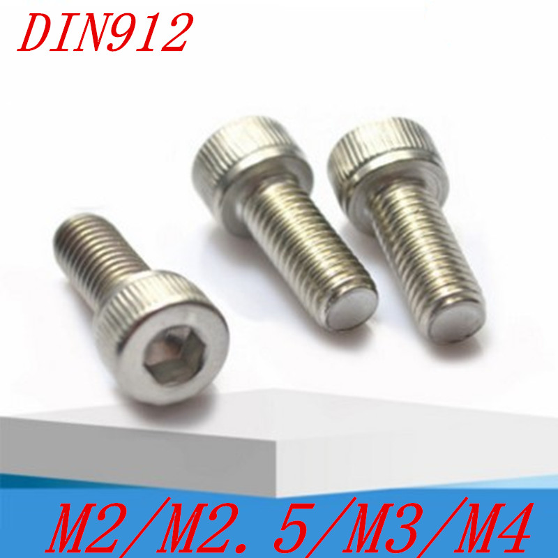 50pcs/lot DIN912 M1.6 M2 M2.5 M3 M4 Stainless steel 304 hex socket cap head screw din912 304 stainless steel screw hex socket screws cup head cylindrical head three combination m2 5 m3 m4 m5 m6 m8 screw washer