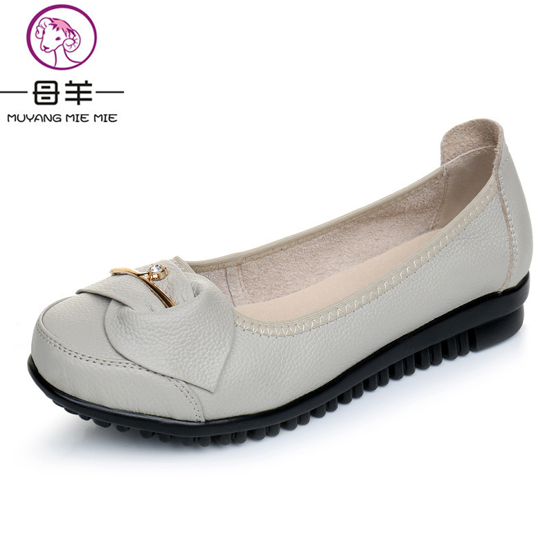 Spring And Autumn Women Shoes Genuine Leather Flat Shoes Woman Loafers Comfortable Casual Bow Women Flats genuine leather handmade women shoes vintage spring and autumn women shoes flat shoes low top casual shoes free shipping