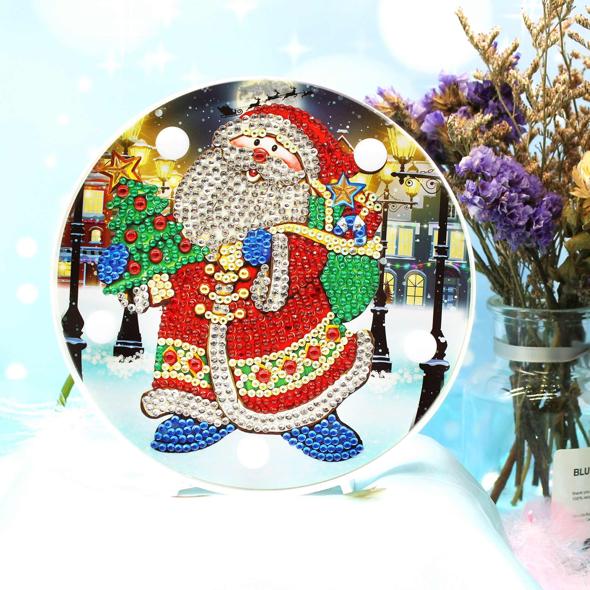 Diy Diamond Embroidery Santa Man Led Night Mini Light On Table Round Diamond Full Drill Christmas Gift For Friends ZXD050