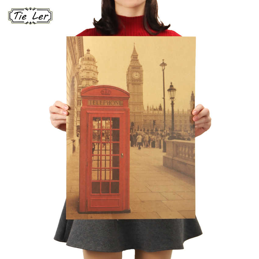 TIE LER London Red Telephone Booth Kraft Paper Poster Livingroom Bedroom Home Decor Retro Landscape Wall Sticker 51.5x36 cm
