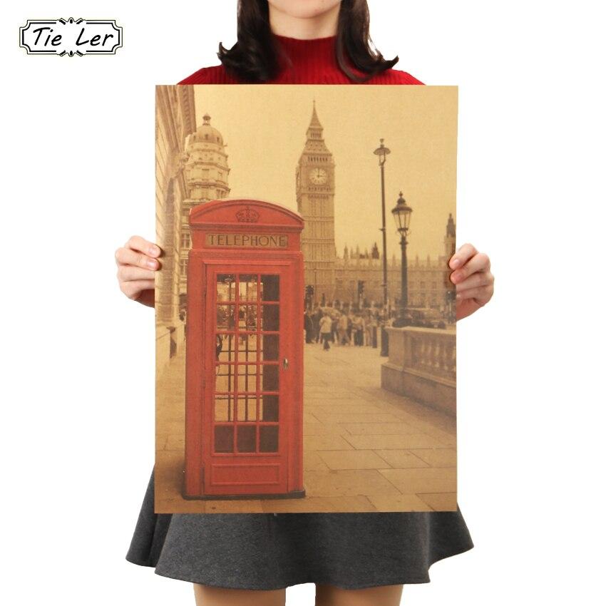 Галстук Лер Лондонский красный телефон стенд крафт бумага постер гостиная спальня домашний Декор Ретро настенный стикер с пейзажем 51,5x36 см|landscape wall stickers|wall stickerkraft paper poster | АлиЭкспресс