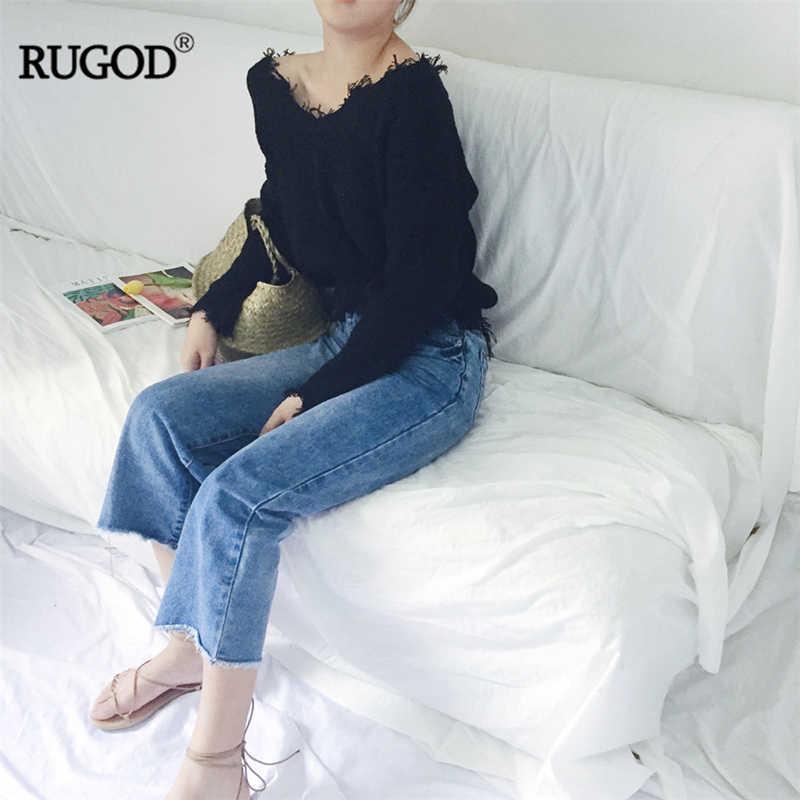 RUGOD 2018, Новое поступление, свитер с рукавом-фонариком, Женский вязаный пуловер, осенняя Свободная верхняя одежда с v-образным вырезом, офисные женские свитера с кисточками