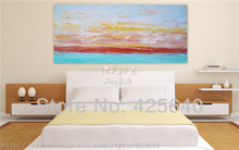 Dusk in Seaside Acrylic Paint Home Decoration Oil Painting  on canvas hight Quality Hand-painted Wall Art 24X48 inch ,36X72 inch