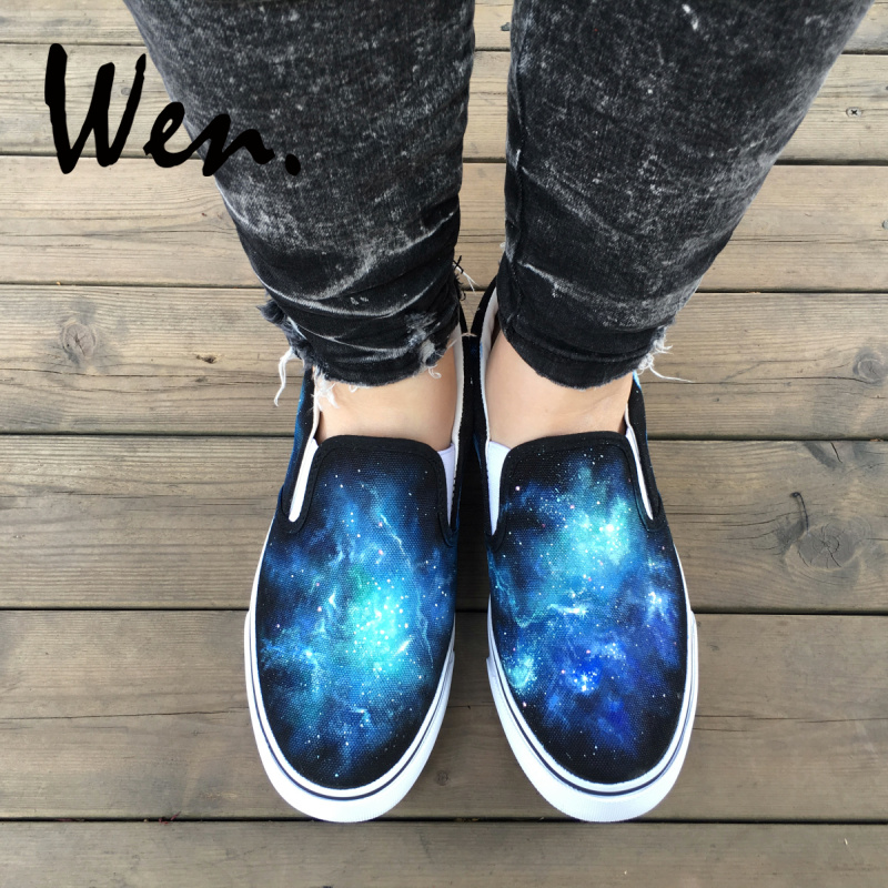 Wen Original Blue Galaxy Nebular Space Design Custom Hand Painted Shoes Slip On Black Canvas Sneakers for Man Woman Plimsolls wen mexican style skulls totem original design hand painted shoes for men woman slip ons custom canvas sneakers