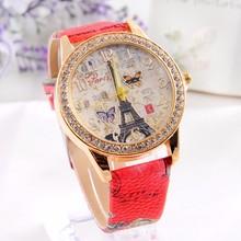 Eiffel Tower series RINNADY men and women`s luxury quartz colock watch fashion leisure leather R99  wrist watches reloj mujer