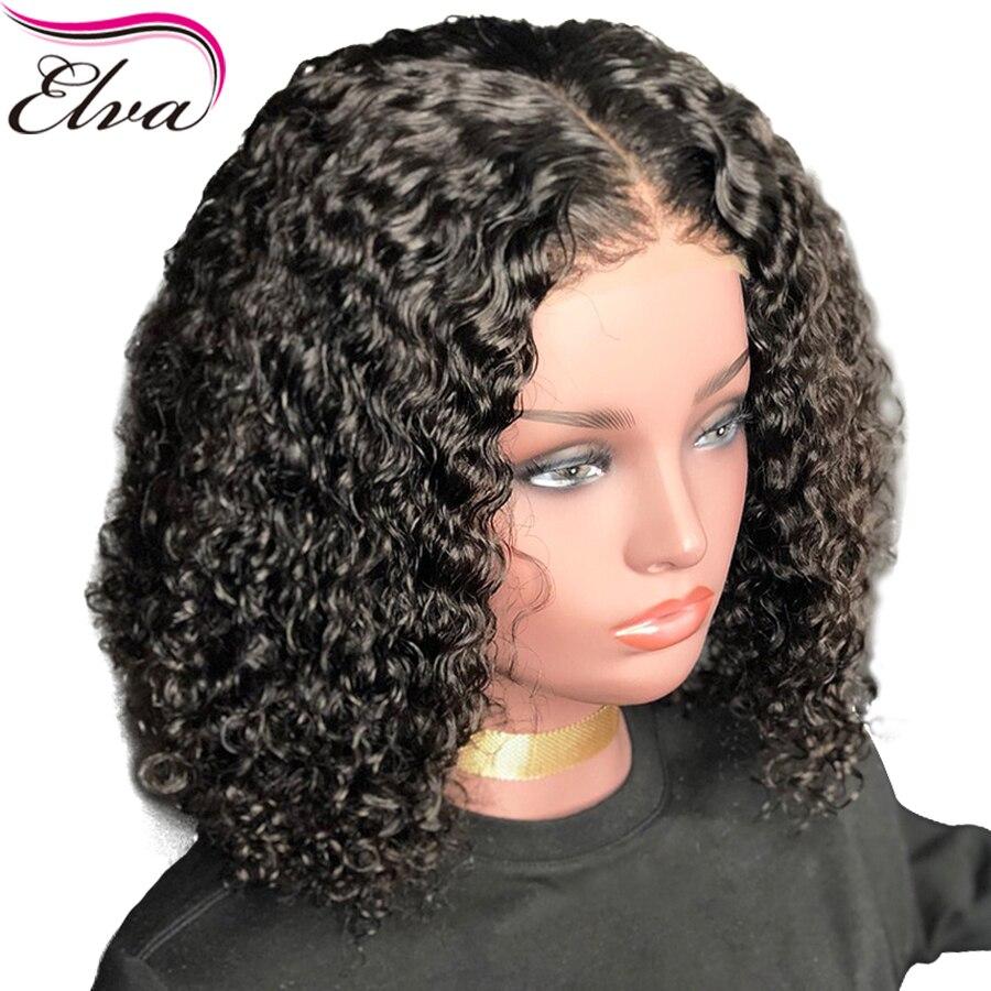 Elva cheveux avant de lacet perruques de cheveux humains avec des cheveux de bébé bouclés sans colle avant de lacet perruque brésilienne Remy perruque de cheveux pré plumé ligne de cheveux