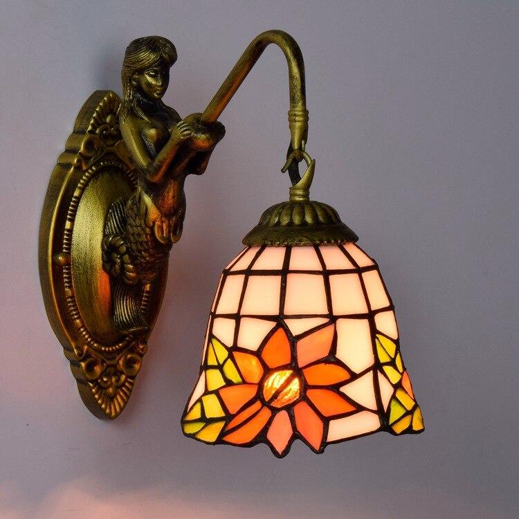Американский Пастырское стекло личность спальня глава один и двойной голову бра бар гостиная Цветочные светильники