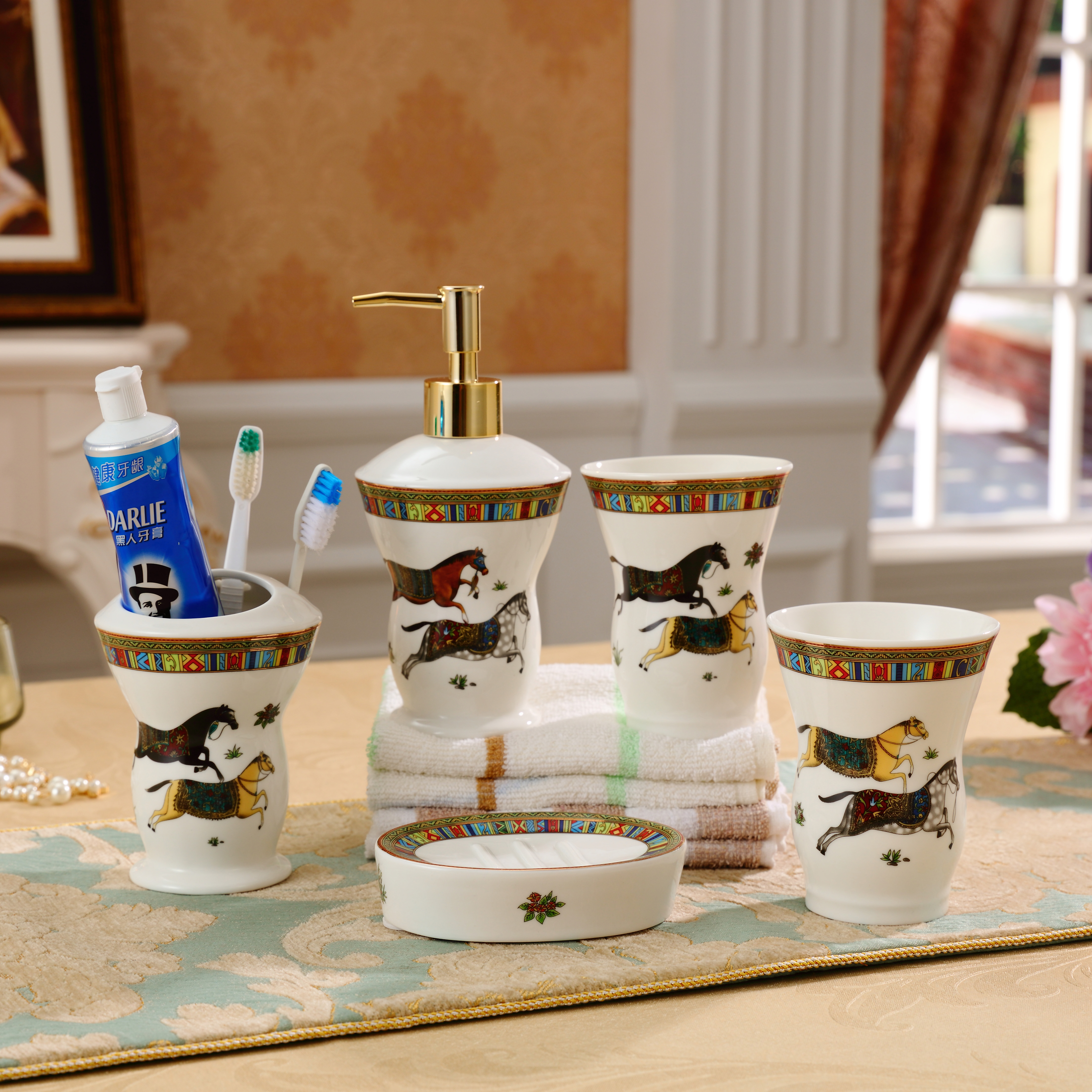 Horse Toilet Accessories set Bathroom sets ceramic Toothbrush holder Lotion dispenser Mouth cups Soap dish for shower room