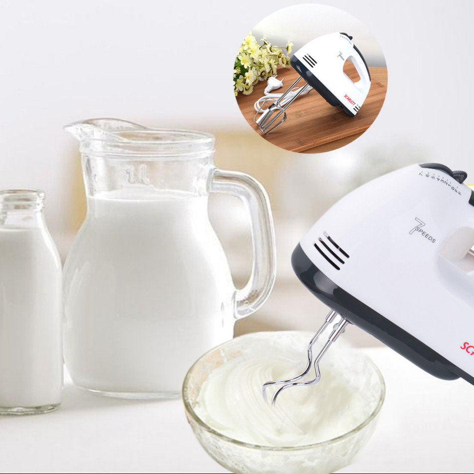 7 Speeds Hand Mixer 180W White Egg Beaters Electric Mixer EU Plug Kitchen Supplier 1pcs High Quality Egg Beater Electric Mixer