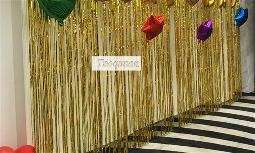 2M Metallic Foil Curtain Wedding Backdrop Birthday Party Decorations  Party Supplies Tassel Garlands  Decoration Cartoon Hat