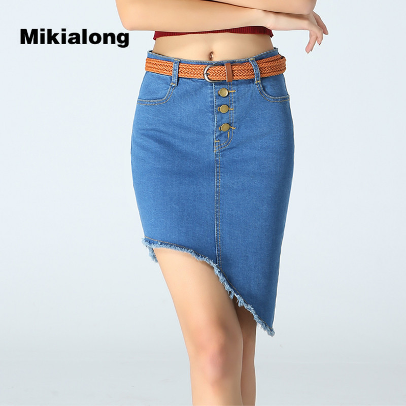 9f714c82cade9 Compare Prices on Low Waist Pencil Skirt Casual Women Skirt ... Mikialong  Fashion High Low Denim ...