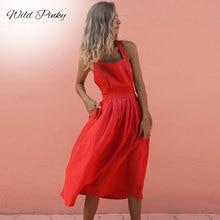 WildPinky Backless Cross Bow Red Midi Dress Sexy Sleeveless Button Bandage Lace Up Women Summer Dresses Spaghetti Strap