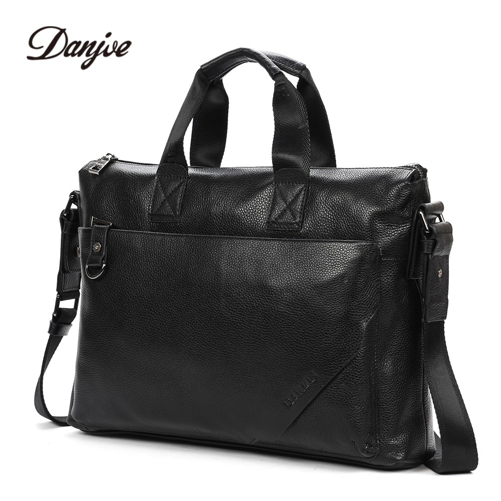 DANJUE Genuine Cow Leather Mens Briefcase High Quality Real Cowskin Business Handbag Brand New Office Work Shoulder Bag Black