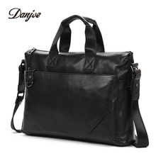 DANJUE Genuine Cow Leather Men's Briefcase High Quality Real Cowskin Business Handbag Brand New Office Work Shoulder Bag Black