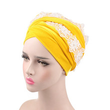 Helisopus New Lace Flower Velvet Headscarf for Women Inner Hijabs Muslim Extra Long Headwrap Fashion Hair Accessories