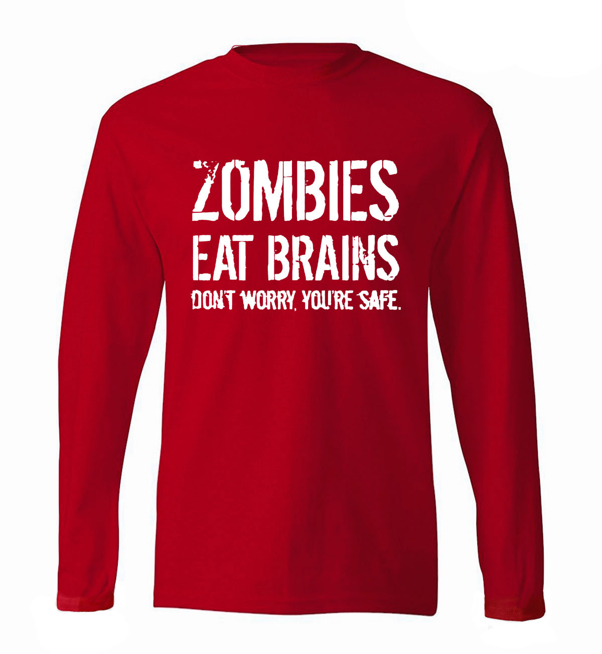 Funny Zombie Men T Shirt Zombies Eat Brains men's long sleeve T-shirts 2019 new spring cotton high quality fitness men top tees