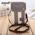 New Women Crossbody Messenger Bag Canvas Shoulder Handbag Striped Pattern Girls Cell Phone Small Pockets Hasp 4 Colors