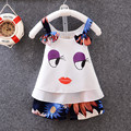 2017 summer new children's clothing children dress girls chiffon baby sling smiling face printing children suit children suit