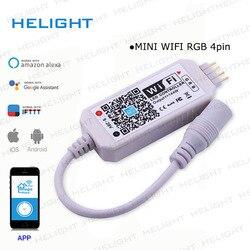 DC12-28V MINI WIFI RGB/RGBW controlador tira controlador Música Pela Amazon Alexa Inicial do Google Telefone WIFI controlador para Tira luz