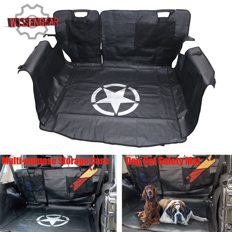 WISENGEAR Rear Bench Floor Mat Storage Cargo Liners for Jeep Wrangler JK 2007-2017 Dog Cat Safety Mat ship by EMS #CEK104 car styling top mount hardtop rear grab handle bar front rear interior parts metal for jeep wrangler 2007 later