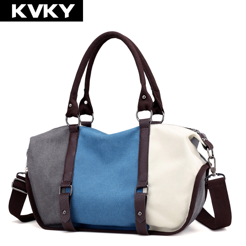 KVKY Brand Patchwork Canvas Women Handbags Ladies Shoulder Bags Large Capacity Female Messenger Bags Casual Shopping Bags Bolsas цена