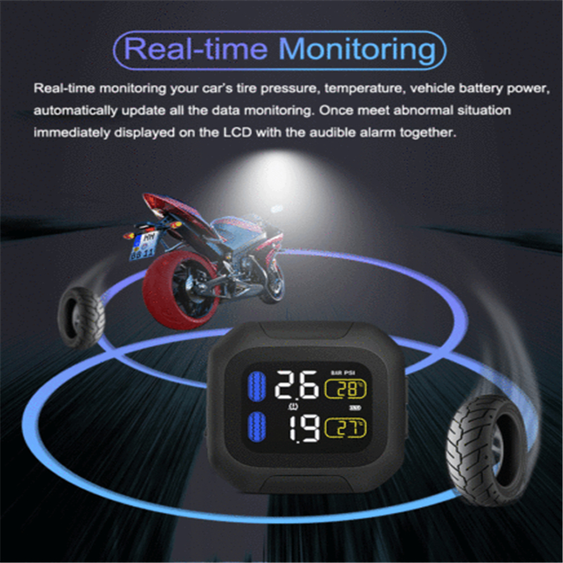 Wireless Motorcycle TPMS Tire Tyre Pressure Monitor System W/ 2 External Sensor