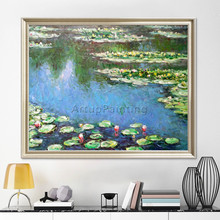 Claude Monet oil painting on canvas,Landscape painting,lotus painting Wall Pictures for Living room hight Quality Hand-painted claude monet oil painting on canvas landscape painting lotus painting wall pictures for living room hight quality hand painted