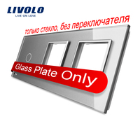 Free Shipping Livolo Grey Pearl Crystal Glass 223mm 80mm EU Standard 1Gang 2 Frame Glass Panel