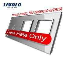 Frete Grátis, Livolo Cinza Pérola De Vidro Cristal, 223mm * 80mm, padrão DA UE, 1 Gang & 2 Quadro Painel de Vidro, VL-C7-C1/SR/SR-15