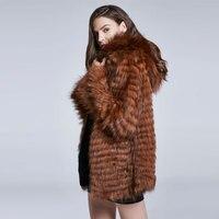 Winter Real Raccoon Fur Fashion Ladies Jacket Furry Fur Coat Fashion Woman's Warm Long Sleeve coat 2018 New Discount FZD M007