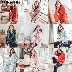 Image 5 - Thick Warm Flannel Pajamas Sets Winter Women Two Piece Pajama Set Cartoon Female Sleepwear Home Clothing Womens Pajamas Suit